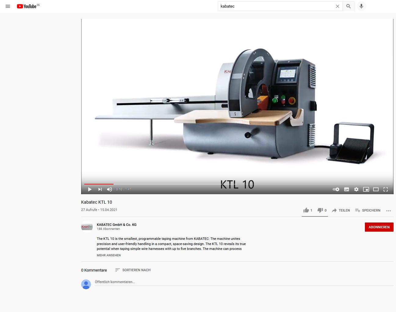 KTL 10 YouTube-Video