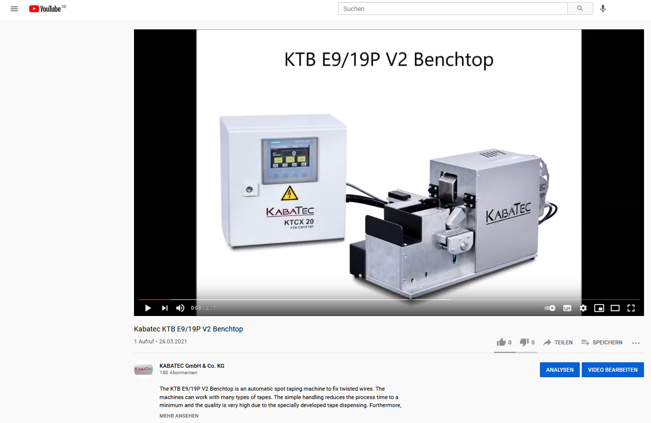 YouTube-Video des KTB E9/19P V2 Benchtop